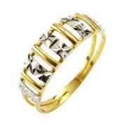 Anel em Ouro 18K Branco e Amarelo com Aro Duplo