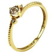 Anel Solitário em Ouro 18K Amarelo e Aplique de Ródio com Diamante