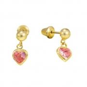 Brincos Infantil Bolinha 3,0mm e Coração de Zircônia Rosa em Ouro 18k Amarelo com Tarraxas Baby Press