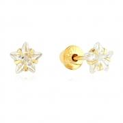 Brincos Infantil Estrela de Zircônia 4,0mm em Ouro 18k Amarelo com Tarraxas Baby Press