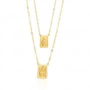 Escapulário Dupla Face com Corrente Cartier em Ouro 18k Amarelo - PMR60/180