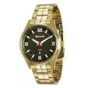 Relógio Seculus Masculino Dourado Long Life 20571GPSVDA1