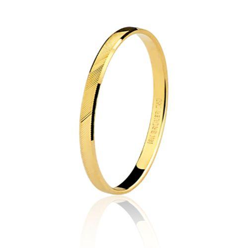 Aliança em Ouro 18K Amarelo com 1,9mm de Largura e trabalho Diamantado
