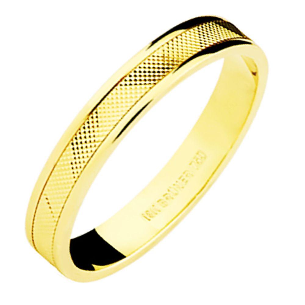 Aliança em Ouro 18K Amarelo com 3,4mm de Largura e Trabalho Diamantado