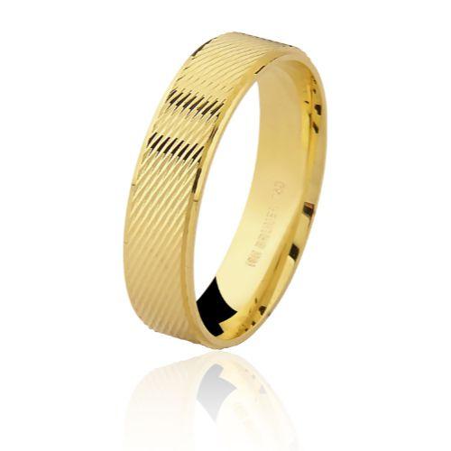 Aliança em Ouro 18K Amarelo com 5,0mm de Largura e trabalho Diamantado