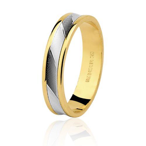 Aliança em Ouro 18K Amarelo e Branco com 4,4mm de Largura e trabalho Diamantado