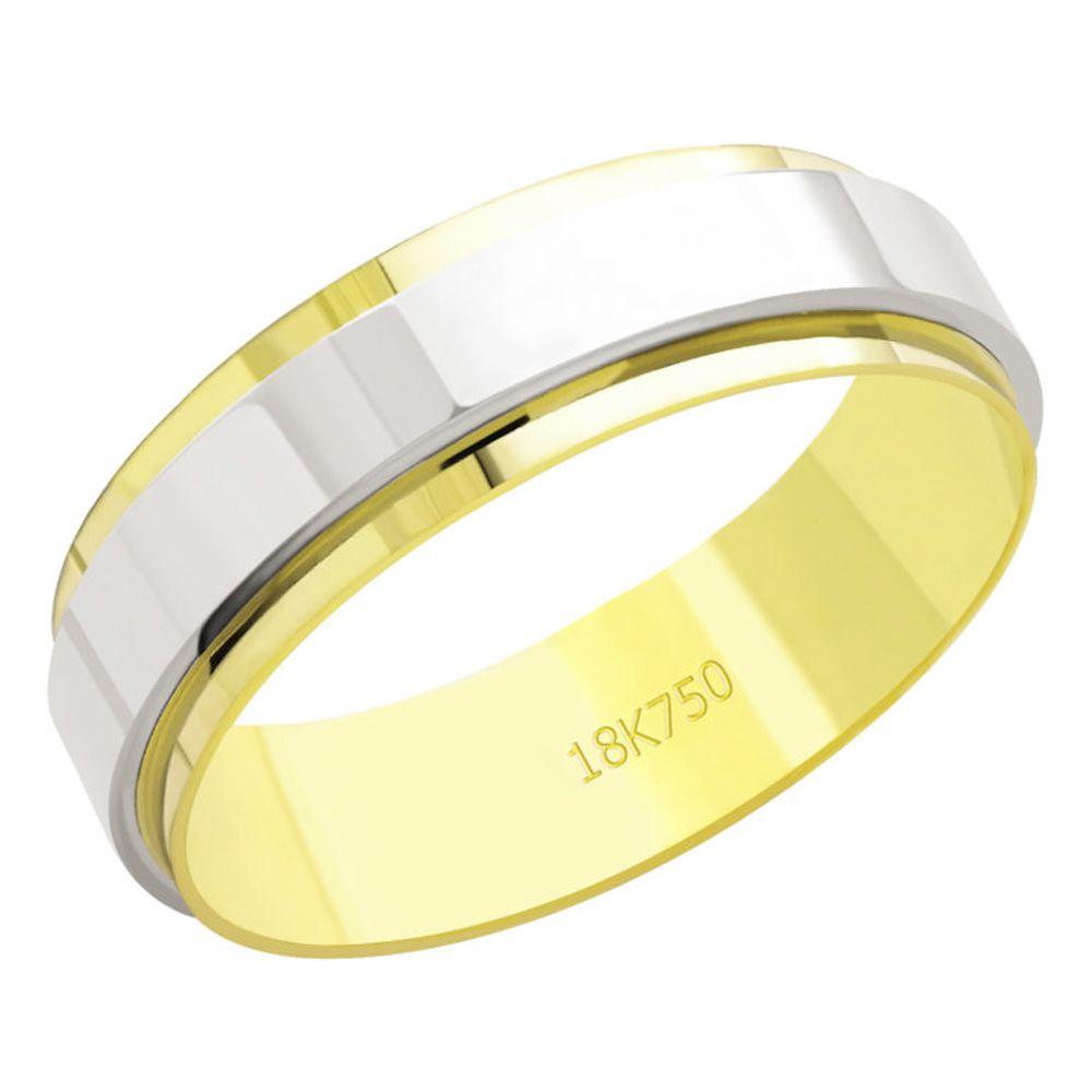 Aliança em Ouro 18K Amarelo e Branco com 6,0mm de Largura