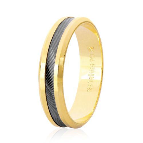 Aliança em Ouro 18K Amarelo e Ouro Negro com 5,0mm de Largura e Borda Polida