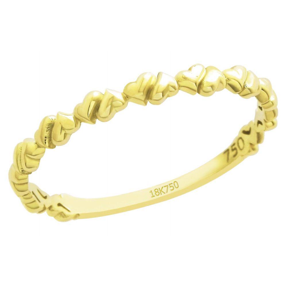 Anel Aparador Corações em Ouro 18K Amarelo