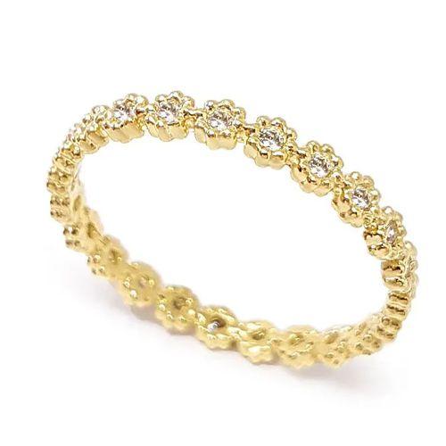 Anel Aparador Flores em Ouro 18K Amarelo com Diamantes