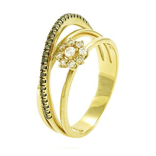 Anel Chuveiro com Arco Cravejado de Diamantes Branco e Negro  em Ouro 18K Amarelo