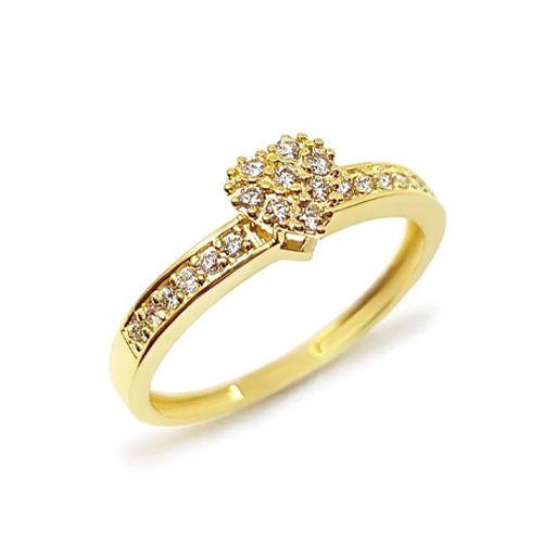 Anel Chuveiro Coração com aro Cravejado de Diamantes em Ouro 18K Amarelo