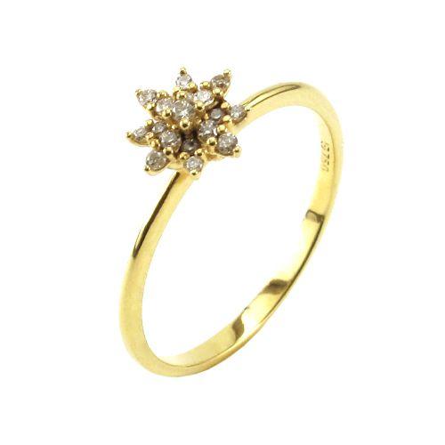Anel Chuveiro Cravejado de Diamantes  em Ouro 18K Amarelo