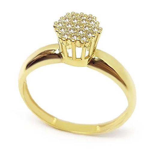 Anel Chuveiro Diamante com aro Polido em Ouro 18K Amarelo