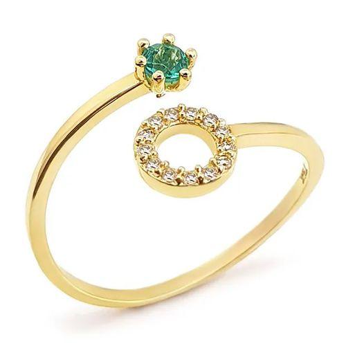 Anel Circulo Cravejado com Diamantes e Esmeralda em Ouro 18K Amarelo