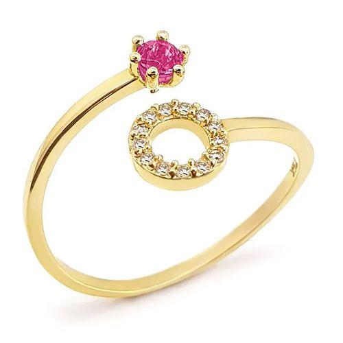 Anel Circulo Cravejado com Diamantes e Rubi em Ouro 18K Amarelo