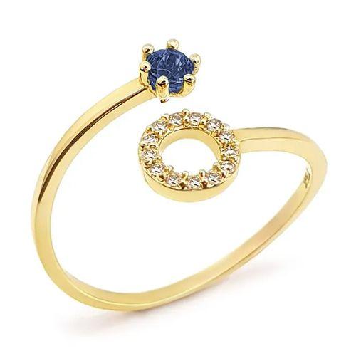 Anel Circulo Cravejado com Diamantes e Safira em Ouro 18K Amarelo