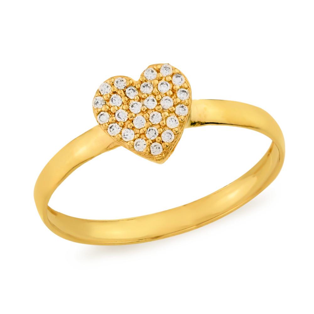 Anel Coração Cravejado com Zircônias em Ouro 18k Amarelo