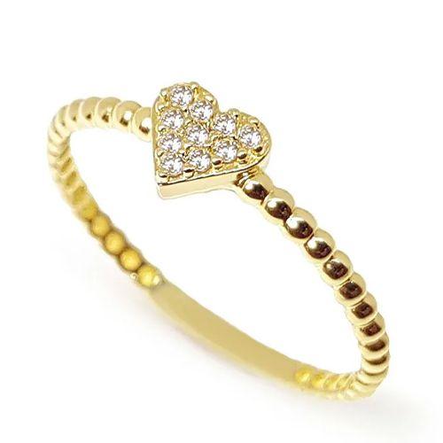 Anel  Coração Cravejado de Diamantes em Ouro 18K Amarelo