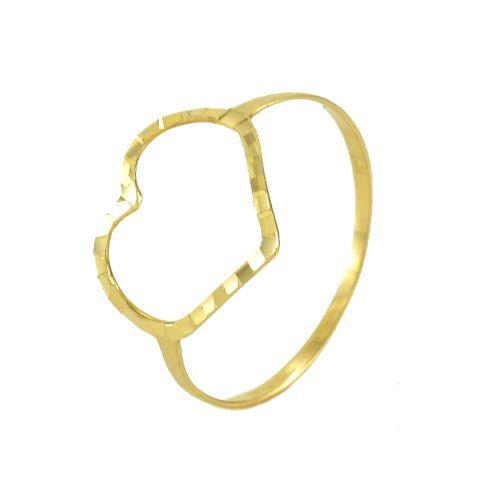 Anel Coração Grande Diamantado em Ouro 18K Amarelo
