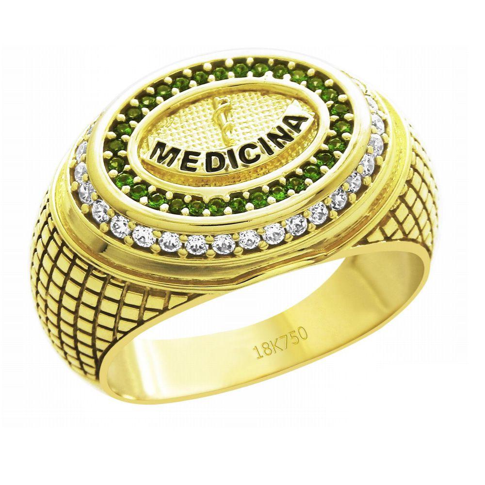 Anel de Formatura Medicina em Ouro 18K Cravejado com Zircônias