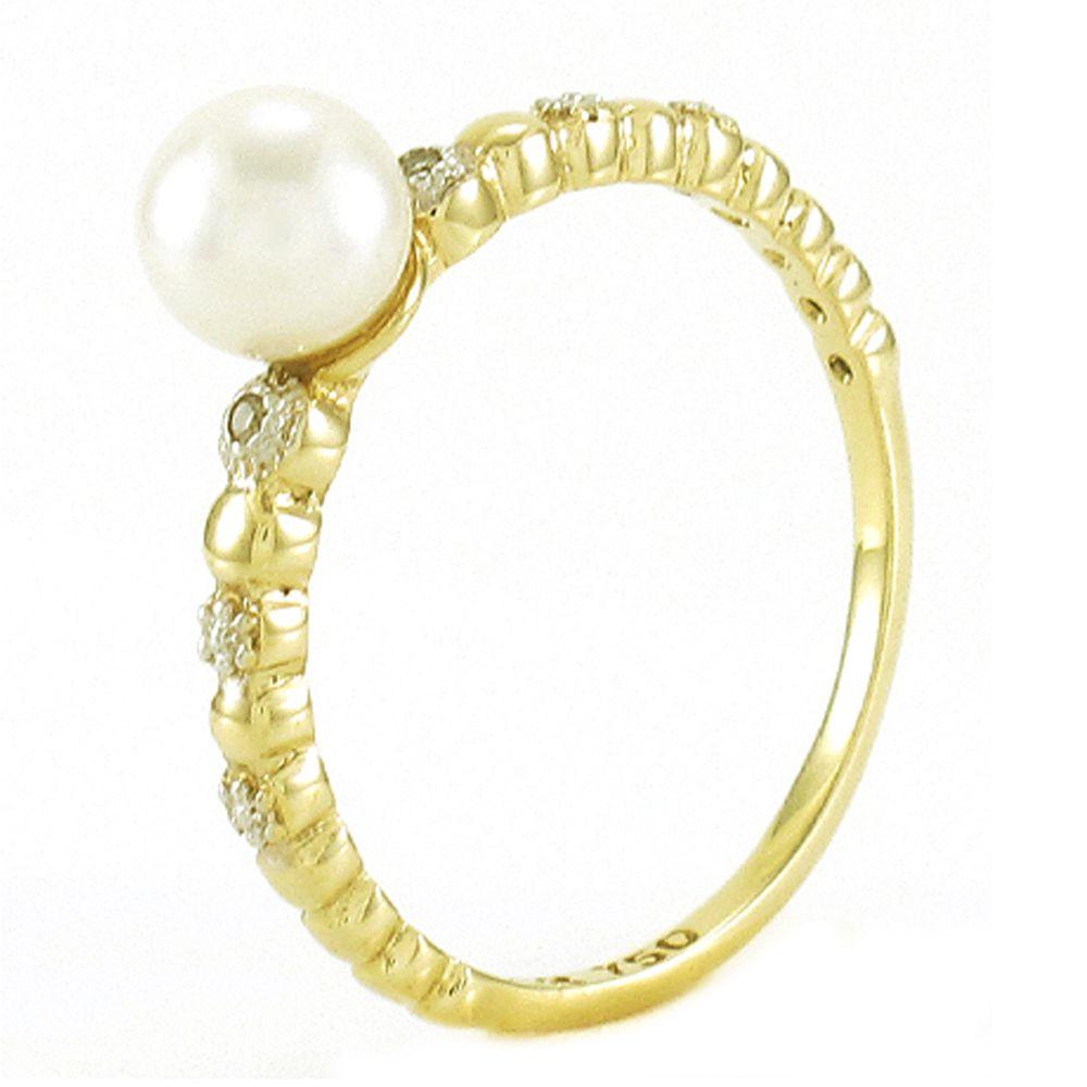 Anel de Pérola de 5,5mm e Diamantes em Ouro 18K Amarelo com