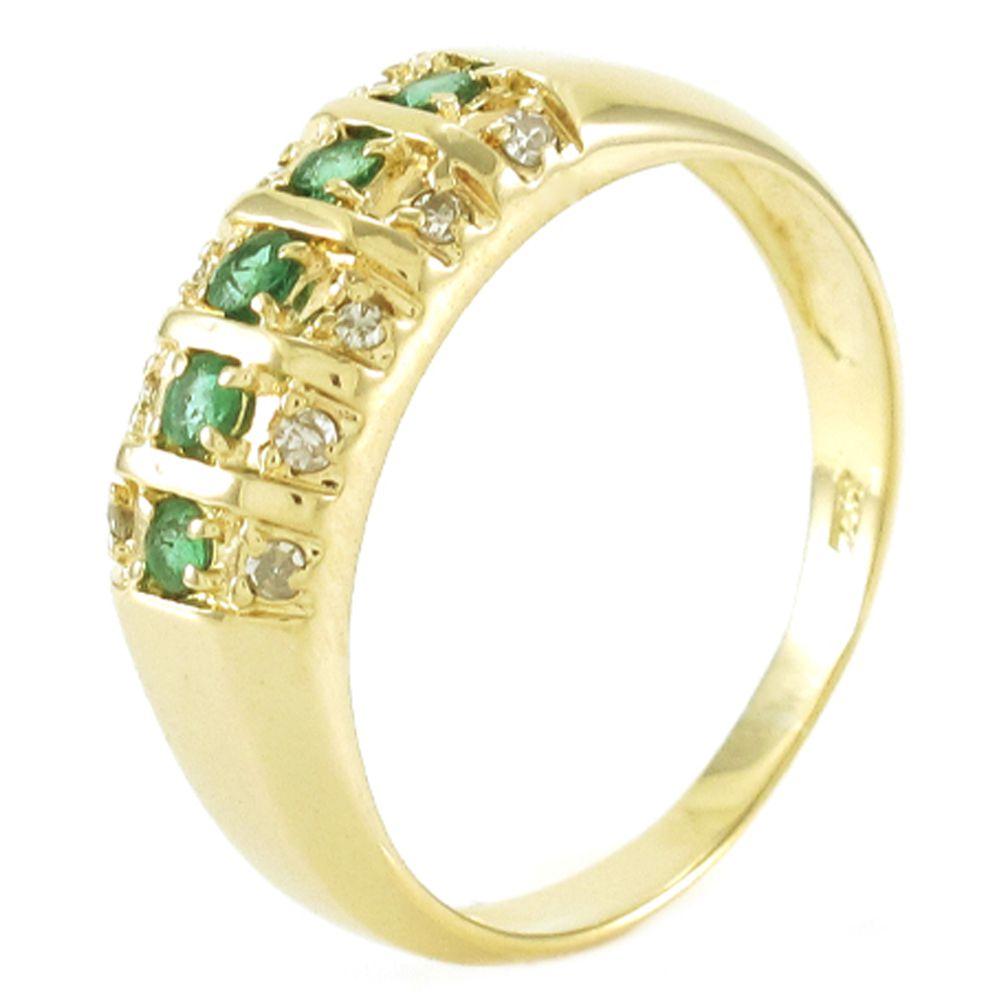 Anel em Ouro 18K Amarelo com Esmeraldas e Diamantes