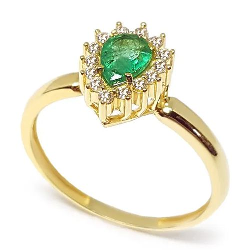 Anel Gota Cravejado com Esmeralda e Diamantes em Ouro 18K Amarelo