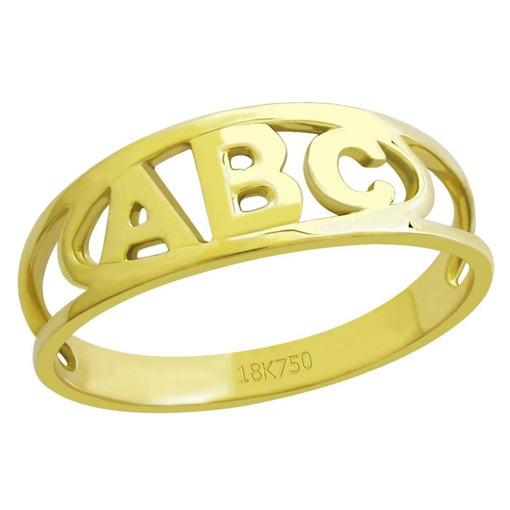 Anel infantil ABC em Ouro 18K Amarelo