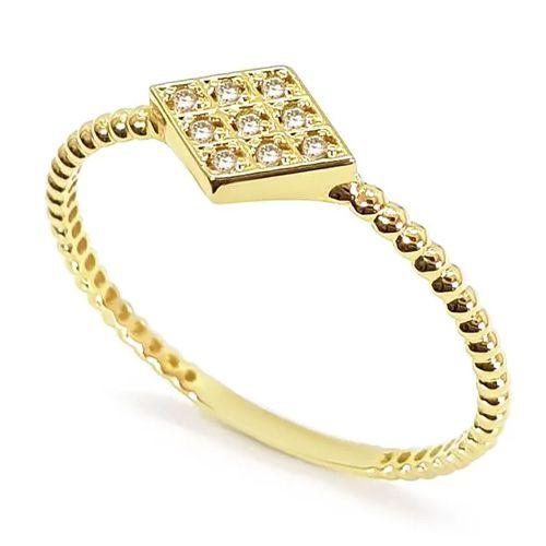 Anel  Losango Cravejado de Diamantes em Ouro 18K Amarelo