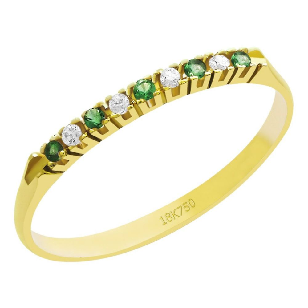 Anel Meia Aliança em Ouro 18K Amarelo com 4 Diamantes e 5 Esmeraldas de 1,0 Ponto