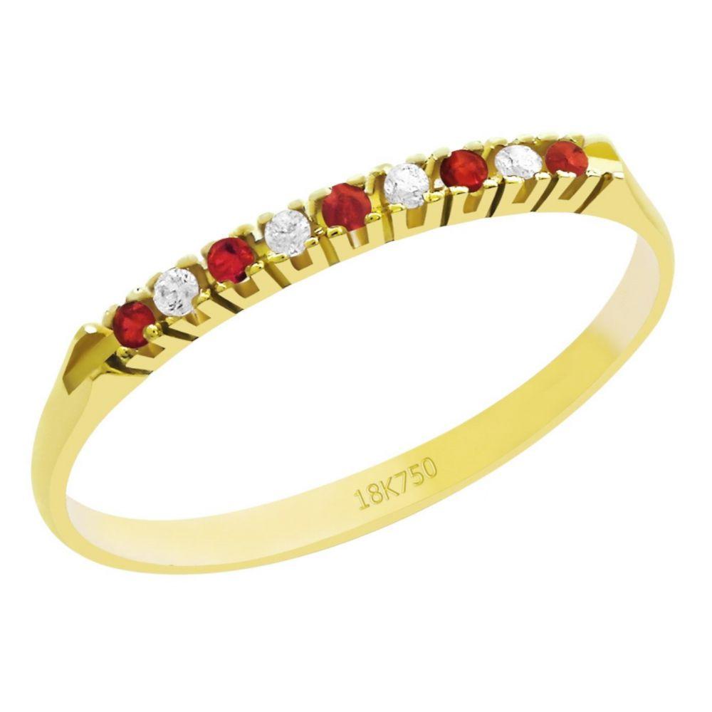 Anel Meia Aliança em Ouro 18K Amarelo com 4 Diamantes e 5 Rubis de 1,0 Ponto
