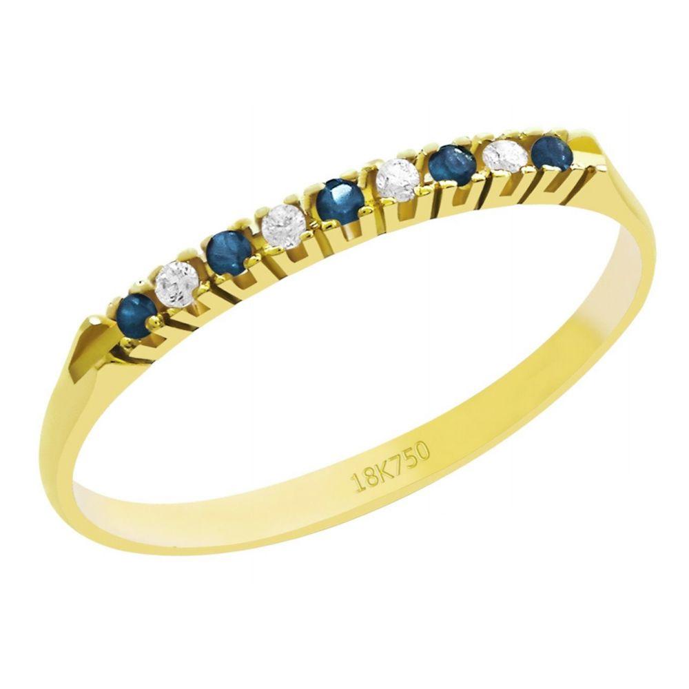 Anel Meia Aliança em Ouro 18K Amarelo com 4 Diamantes e 5 Safiras de 1,0 Ponto