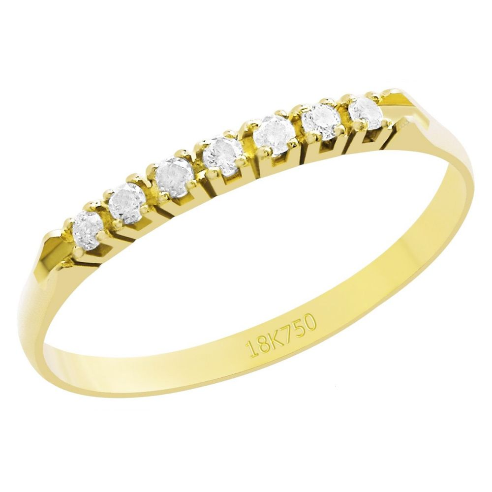 Anel Meia Aliança em Ouro 18K Amarelo com 7 Diamantes de 1,5 Pontos