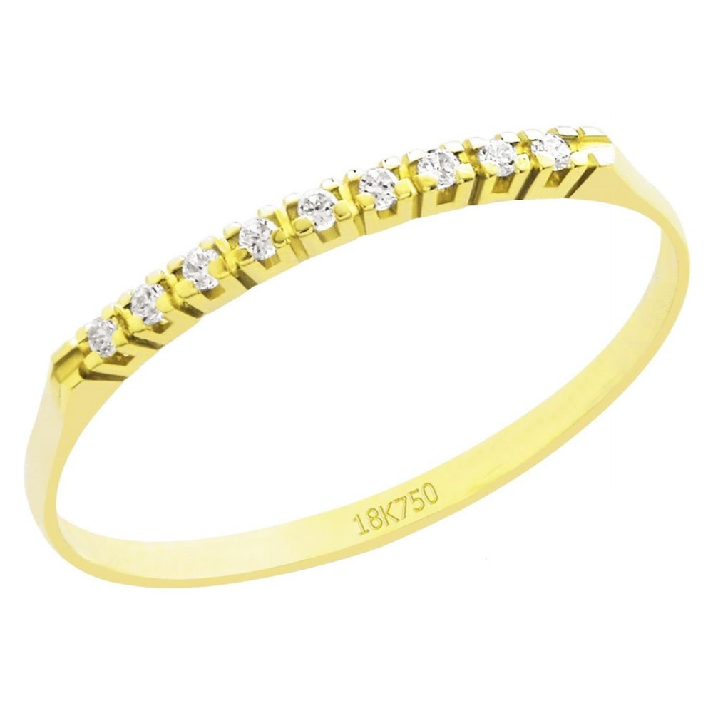 Anel Meia Aliança em Ouro 18K Amarelo com 9 Diamantes de 0,5 Pontos