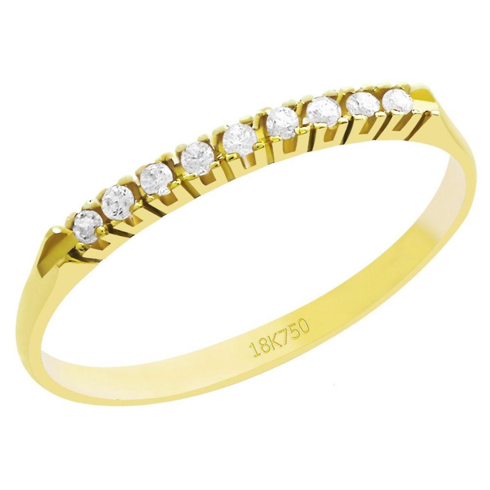 Anel Meia Aliança em Ouro 18K Amarelo com 9 Diamantes de 1,0 Ponto