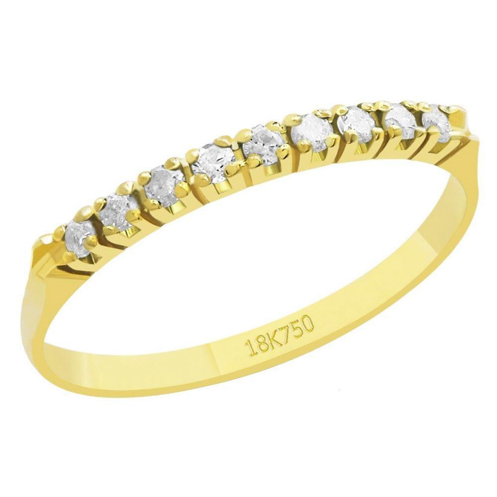 Anel Meia Aliança em Ouro 18K Amarelo com 9 Diamantes de 1,5 Pontos