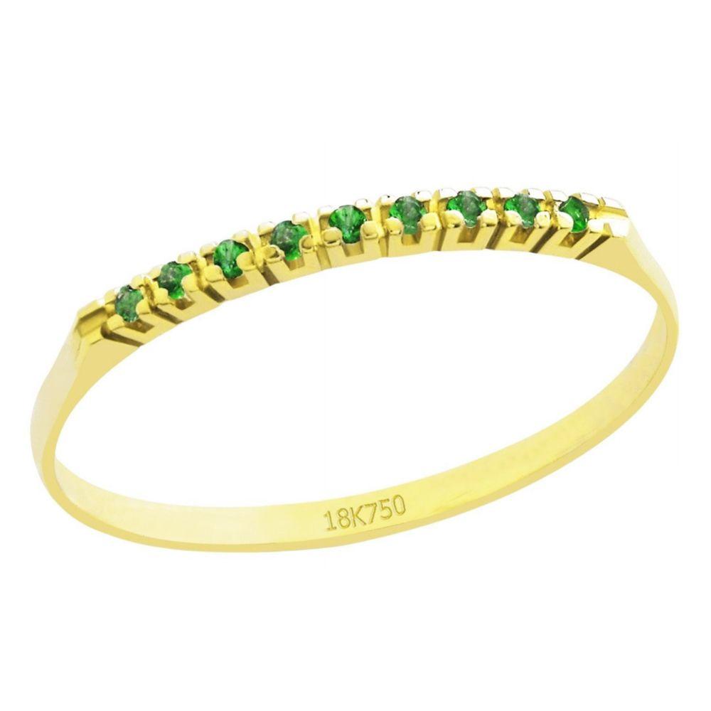 Anel Meia Aliança em Ouro 18K Amarelo com 9 Esmeraldas de 1,0 Ponto
