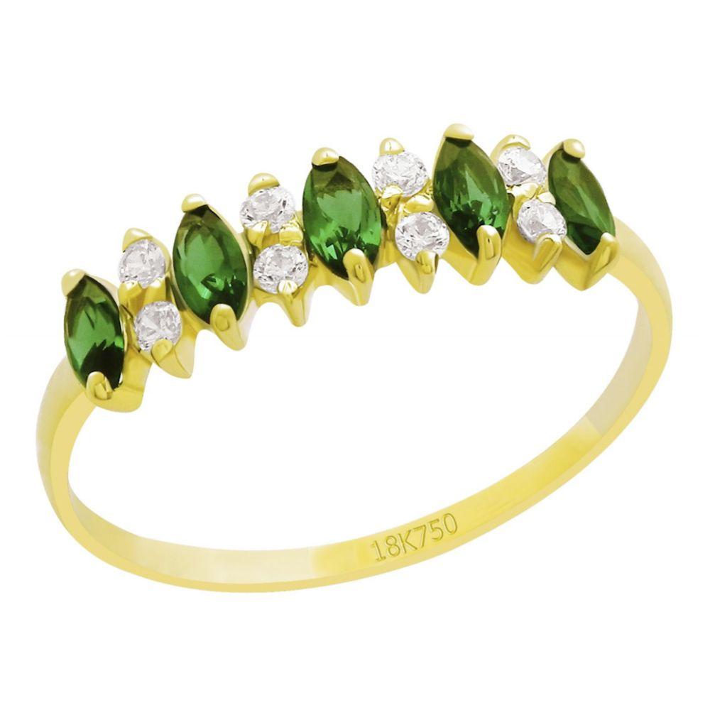Anel Meia Aliança em Ouro 18K Amarelo com Esmeraldas Navete  e Diamantes
