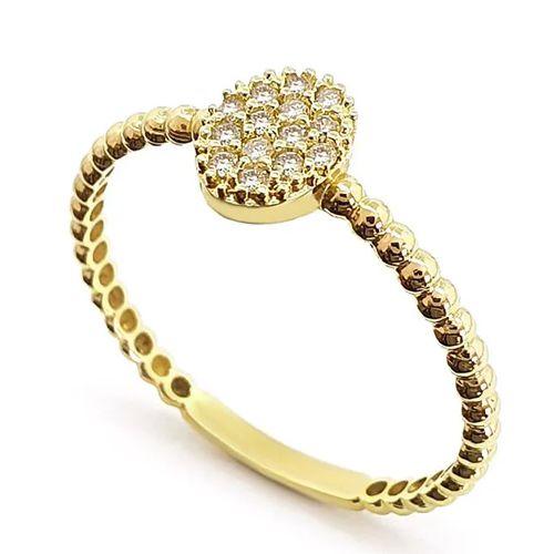 Anel  Oval Cravejado de Diamantes em Ouro 18K Amarelo