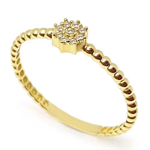 Anel  Redondo Cravejado de Diamantes em Ouro 18K Amarelo