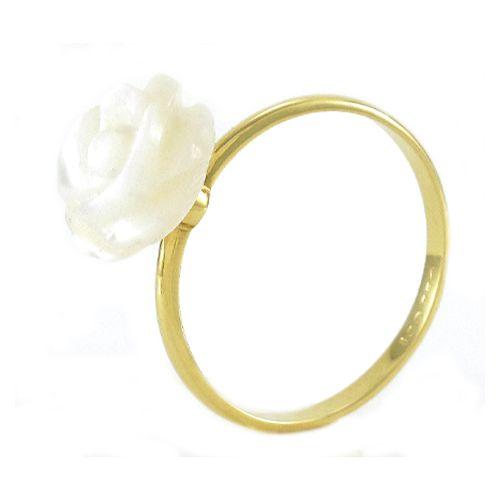Anel Rosa de Madrepérola de 10mm em Ouro 18K Amarelo