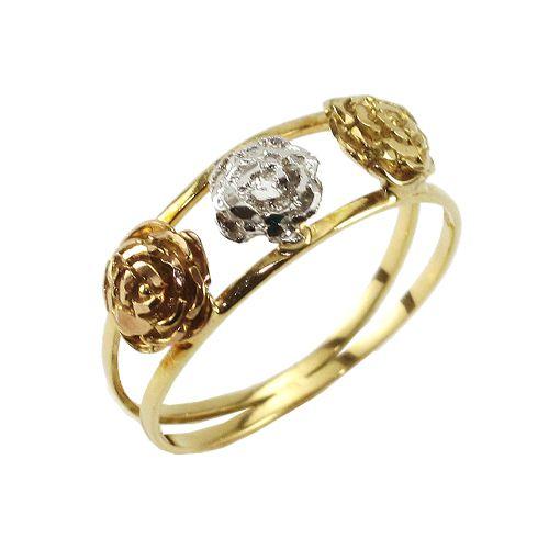 Anel Rosas em Ouro 18K Amarelo, Branco e Rose com Aro Duplo