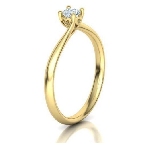 Anel Solitário em Ouro 18K Amarelo com Diamante de 20 Pontos