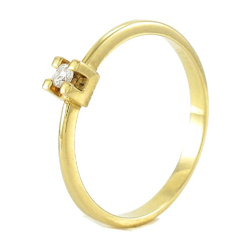 Anel Solitário em Ouro 18K Amarelo com Diamante de 5 Pontos