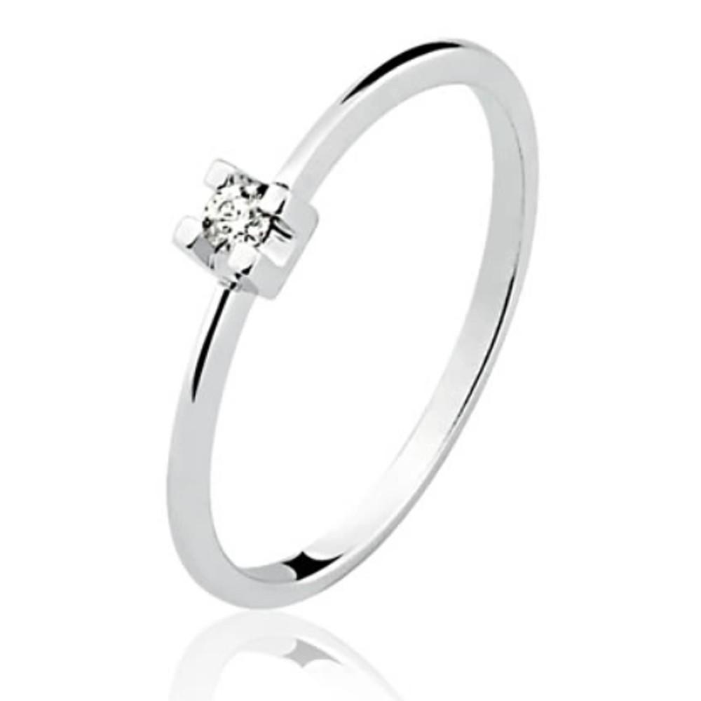 Anel Solitário em Ouro 18K Branco com Diamante de 5 Pontos