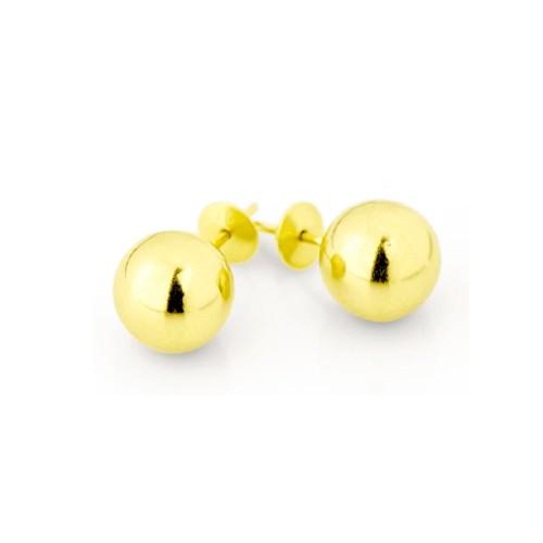 Brincos Bola de 8,0mm em Ouro 18k Amarelo com Tarraxas Press