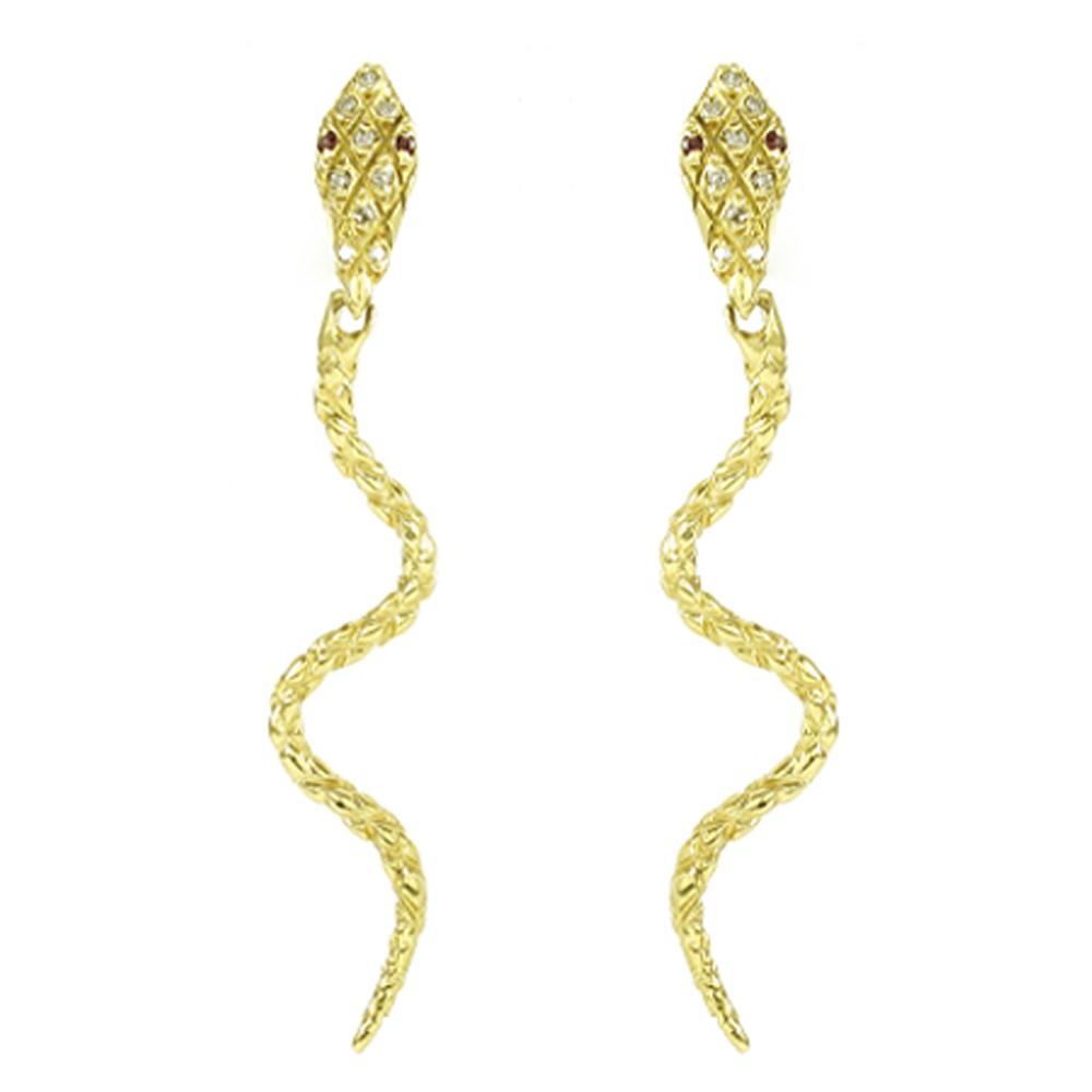 Brincos Cobra com Diamantes e Rubis em Ouro 18K Amarelo