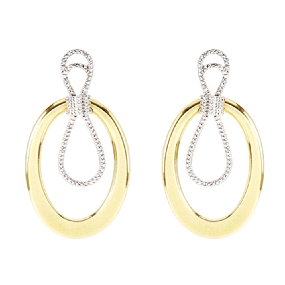 Brincos em Ouro 18k Amarelo e Branco com Diamantes - PMR1120