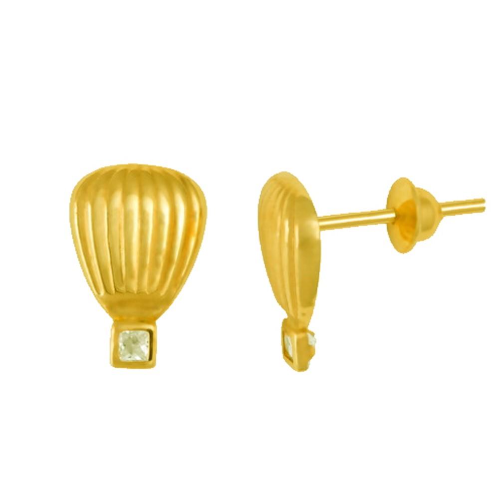 Brincos Infantil Balão com Zircônia em Ouro 18K Amarelo